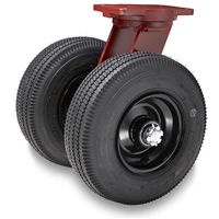 "Hamilton Pneumatic Dual-Wheel Swivel Caster with 12"" Pneumatic Air-Filled Tire with 1"" Straight Roller Bearing"