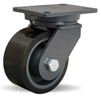 "Hamilton Champion Swivel Caster with 6"" x 3"" Duralast XC® Polyurethane (70D) on Cast Iron Wheel with 3/4"" Sealed Precision Ball Bearings"