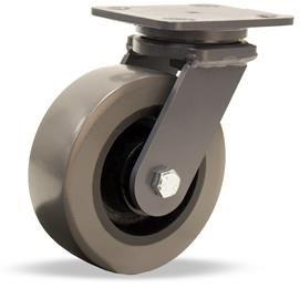 "Hamilton Champion Swivel Caster with 6"" x 3"" DuraGlide 1"" thick Polyurethane (95A) on Cast Iron Wheel with 3/4"" Sealed Precision Ball Bearings"