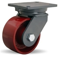"Hamilton Champion Swivel Caster with 6"" x 3"" Metal Wheel with 3/4"" Precision Ball Bearing"