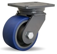 "Hamilton Champion Swivel Caster with 6"" x 3"" Ergo-Glide Polyurethane (85A) on Cast Iron Wheel with 3/4"" Sealed Precision Ball Bearings"