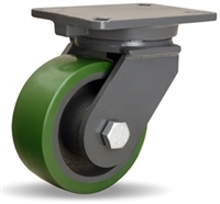"Hamilton Champion Swivel Caster with 6"" x 2 1/2"" Duralast® Polyurethane (95A) on Cast Iron Wheel with 3/4"" Precision Ball Bearing"