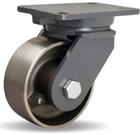 "Hamilton Champion Swivel Caster with 6"" x 2 1/2"" Forged Steel Wheel with 1"" Straight Roller Bearing"