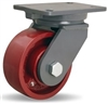 "Hamilton Champion Swivel Caster with 6"" x 2 1/2"" Metal Wheel with 1"" Straight Roller Bearing"
