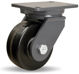 "Hamilton Champion Swivel Caster with 6"" x 2 1/2"" Plastex Phenolic Wheel with 1"" Straight Roller Bearing"