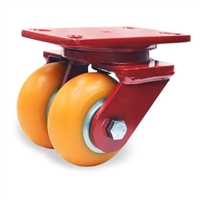 "Hamilton Heavy Service Dual-Wheel Swivel Caster with 4"" x 2"" Ergo-Techâ""¢ Polyurethane (87A) on Cast Iron Wheels with 1/2"" Sealed Precision Ball Bearings"