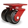 "Hamilton Heavy Service Dual-Wheel Swivel Caster with 4"" x 2"" Duralast XC® Polyurethane (70D) on Cast Iron Wheels with 1/2"" Sealed Precision Ball Bearings"