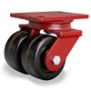 "Hamilton Heavy Service Dual-Wheel Swivel Caster with 4"" x 2"" Plastex Phenolic Wheels with 3/4"" Straight Roller Bearings - 1,200 lbs Capacity"