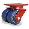 "Hamilton Heavy Service Dual-Wheel Swivel Caster with 4"" x 2"" Ergo-Glide Polyurethane (85A) on Cast Iron Wheels with 1/2"" Sealed Precision Ball Bearings"