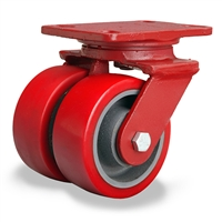 "Hamilton Heavy Service Dual-Wheel Swivel Caster with 4"" x 2"" Ultralastâ""¢ Premium Polyurethane (95A) on Cast Iron Wheels with 1/2"" Sealed Precision Ball Bearings - 1,300 lbs Capacity"