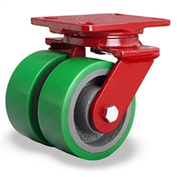 "Hamilton Heavy Service Dual-Wheel Swivel Caster with 5"" x 2"" Duralast® Polyurethane (95A) on Cast Iron Wheels with 1/2"" Sealed Precision Ball Bearings - 1,800 lbs Capacity"