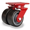 "Hamilton Heavy Service Dual-Wheel Swivel Caster with 5"" x 2"" Duralast XC® Polyurethane (70D) on Cast Iron Wheels with 1/2"" Sealed Precision Ball Bearings - 2,100 lbs Capacity"