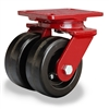 "Hamilton Heavy Service Dual-Wheel Swivel Caster with 5"" x 2"" Plastex Phenolic Wheels with 3/4"" Straight Roller Bearings - 1,600 lbs Capacity"