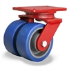 "Hamilton Heavy Service Dual-Wheel Swivel Caster with 5"" x 2"" Ergo-Glide Polyurethane (85A) on Cast Iron Wheels with 1/2"" Sealed Precision Ball Bearings - 1,500 lbs Capacity"