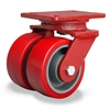 "Hamilton Heavy Service Dual-Wheel Swivel Caster with 5"" x 2"" Ultralastâ""¢ Premium Polyurethane (95A) on Cast Iron Wheels with 1/2"" Sealed Precision Ball Bearings - 1,800 lbs Capacity"