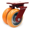 "Hamilton Heavy Service Dual-Wheel Swivel Caster with 6"" x 2"" Ergo-Techâ""¢ Polyurethane (87A) on Cast Iron Wheels with 1/2"" Sealed Precision Ball Bearings - 1,800 lbs Capacity"