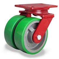 "Hamilton Heavy Service Dual-Wheel Swivel Caster with 6"" x 2"" Duralast® Polyurethane (95A) on Cast Iron Wheels with 1/2"" Sealed Precision Ball Bearings - 2,100 lbs Capacity"