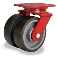 "Hamilton Heavy Service Dual-Wheel Swivel Caster with 6"" x 2"" Duralast XC® Polyurethane (70D) on Cast Iron Wheels with 1/2"" Sealed Precision Ball Bearings - 2,400 lbs Capacity"