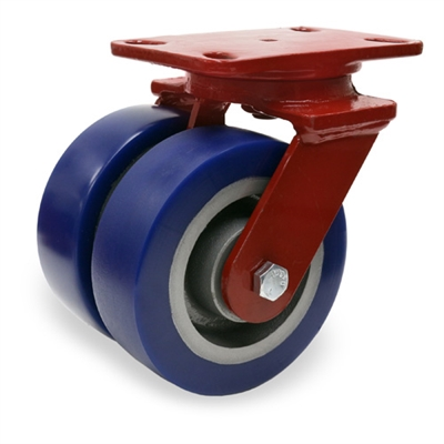 "Hamilton Heavy Service Dual-Wheel Swivel Caster with 6"" x 2"" Ergo-Glide XT Polyurethane (85A) on Cast Iron Wheels with 1/2"" Sealed Precision Ball Bearings - 2,300 lbs Capacity"