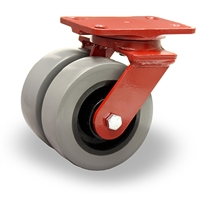 "Hamilton Heavy Service Dual-Wheel Swivel Caster with 6"" x 2"" DuraGlide Polyurethane (95A) on Cast Iron Wheels with 1/2"" Sealed Precision Ball Bearings - 2,900 lbs Capacity"
