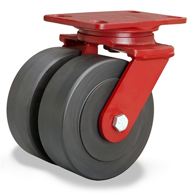 "Hamilton Heavy Service Dual-Wheel Swivel Caster with 6"" x 2"" Nylastâ""¢ High Performance Cast Nylon Wheels with 1/2"" Sealed Precision Ball Bearings - 3,000 lbs Capacity"