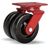 "Hamilton Heavy Service Dual-Wheel Swivel Caster with 6"" x 2"" Plastex Phenolic Wheels with 3/4"" Straight Roller Bearings - 1,900 lbs Capacity"