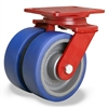 "Hamilton Heavy Service Dual-Wheel Swivel Caster with 6"" x 2"" Ergo-Glide Polyurethane (85A) on Cast Iron Wheels with 1/2"" Sealed Precision Ball Bearings - 1,700 lbs Capacity"
