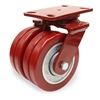 "Hamilton Heavy Service Dual-Wheel Swivel Caster with 6"" x 2"" Swivel-EAZ® Polyurethane on Aluminum Core Twin Wheels with 1/2"" Sealed Precision Ball Bearings - 2,500 LBS Capacity"
