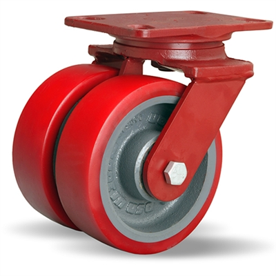 "Hamilton Heavy Service Dual-Wheel Swivel Caster with 6"" x 2"" Ultralastâ""¢ Premium Polyurethane (95A) on Forged Steel Wheels with 1/2"" Sealed Precision Ball Bearings - 2,100 lbs Capacity"