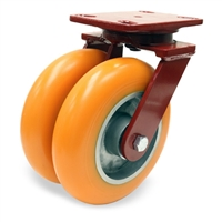 "Hamilton Heavy Service Dual-Wheel Swivel Caster with 8"" x 2"" Ergo-Techâ""¢ Polyurethane (87A) on Cast Iron Wheels with 1/2"" Sealed Precision Ball Bearings - 2,100 lbs Capacity"