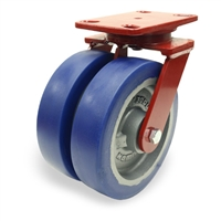 "Hamilton Heavy Service Dual-Wheel Swivel Caster with 8"" x 2"" Ergo-Glide XT Polyurethane (85A) on Cast Iron Wheels with 1/2"" Sealed Precision Ball Bearings - 2,900 lbs Capacity"