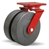 "Hamilton Heavy Service Dual-Wheel Swivel Caster with 8"" x 2"" Nylastâ""¢ High Performance Cast Nylon Wheels with 1/2"" Sealed Precision Ball Bearings - 3,000 lbs Capacity"