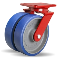"Hamilton Heavy Service Dual-Wheel Swivel Caster with 8"" x 2"" Ergo-Glide Polyurethane (85A) on Cast Iron Wheels with 1/2"" Sealed Precision Ball Bearings - 2,100 lbs Capacity"