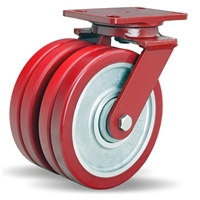 "Hamilton Heavy Service Dual-Wheel Swivel Caster with 8"" x 2"" Swivel-EAZ® Polyurethane on Aluminum Core Twin Wheels with 1/2"" Sealed Precision Ball Bearings - 3,000 LBS Capacity"