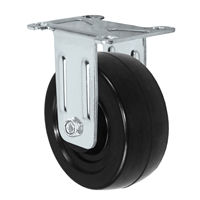 "3"" X 1.25"" Stainless Rigid Caster with Hard Rubber Wheel - 300 lbs Capacity"