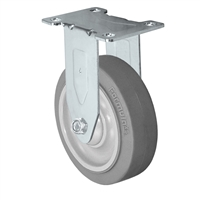 "4"" Stainless Steel Rigid Caster - Non-Marking Thermoplastic Rubber Wheel - 300 lbs Capacity Each. CasterHQ's 4 inch Gray Non-Marking TPR Wheel comes assembled in a Stainless Steel Grade S304 Swivel Caster Yoke."
