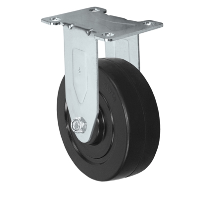 "4"" X 1.25"" Stainless Rigid Caster with Hard Rubber Wheel - 350 lbs Capacity"