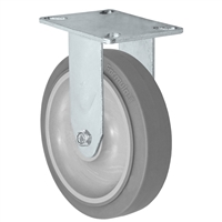 "5"" Stainless Steel Rigid Caster - Non-Marking Thermoplastic Rubber Wheel - 300 lbs Capacity Each. CasterHQ's 5 inch Gray Non-Marking TPR Wheel comes assembled in a Stainless Steel Grade S304 Swivel Caster Yoke."