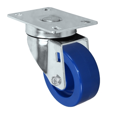 "3"" X 1.25"" Light Duty Blue Solid Polyurethane Wheel - Stainless Swivel Caster 300 lbs Capacity"