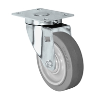 "4"" Stainless Steel Swivel Caster - Non-Marking Thermoplastic Rubber Wheel - 300 lbs Capacity Each. CasterHQ's 4 inch Gray Non-Marking TPR Wheel comes assembled in a Stainless Steel Grade S304 Swivel Caster Yoke."