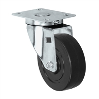 "4"" X 1.25"" Stainless Steel Swivel Caster with Hard Rubber Wheel - 350 lbs Capacity"