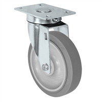 "5"" Stainless Steel Swivel Caster - Non-Marking Thermoplastic Rubber Wheel - 300 lbs Capacity Each. CasterHQ's 5 inch Gray Non-Marking TPR Wheel comes assembled in a Stainless Steel Grade S304 Swivel Caster Yoke."