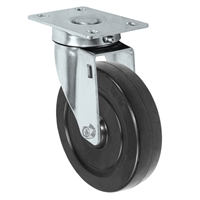 "5"" X 1.25"" Stainless Swivel Caster with Hard Rubber Wheel - 350 lbs Capacity"