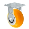 "5"" x 2"" Stainless Steel Rigid Caster - Orange Sirius Heavy Duty Donut Polyurethane on Aluminum Wheel - Swivel Casters - Plate Size: 4"" x 4-1/2"" - Capacity: 1,200 lbs"