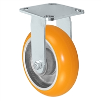 "6"" x 2"" Stainless Steel Rigid Caster - Orange Sirius Heavy Duty Donut Polyurethane on Aluminum Wheel - Swivel Casters - Plate Size: 4"" x 4-1/2"" - Capacity: 1,250 lbs"