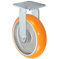 "8"" x 2"" Stainless Steel Rigid Caster - Orange Sirius Heavy Duty Donut Polyurethane on Aluminum Wheel - Swivel Casters - Plate Size: 4"" x 4-1/2"" - Capacity: 1,250 lbs"