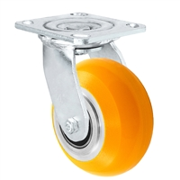 "4"" x 2"" Stainless Steel Swivel Caster - Orange Sirius Heavy Duty Donut Polyurethane on Aluminum Wheel - Swivel Casters - Plate Size: 4"" x 4-1/2"" - Capacity: 1,000 lbs"