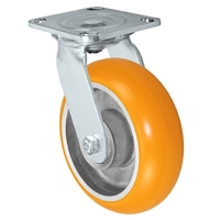 "6"" x 2"" Stainless Steel Swivel Caster - Orange Sirius Heavy Duty Donut Polyurethane on Aluminum Wheel - Swivel Casters - Plate Size: 4"" x 4-1/2"" - Capacity: 1,250 lbs"