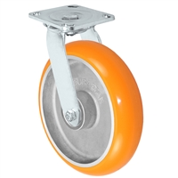 "8"" x 2"" Stainless Steel Swivel Caster - Orange Sirius Heavy Duty Donut Polyurethane on Aluminum Wheel - Swivel Casters - Plate Size: 4"" x 4-1/2"" - Capacity: 1,250 lbs"