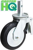 "6"" x 2"" Scaffolding Caster with Total Lock Brake - Mold-on-Rubber Cast Iron Wheel"